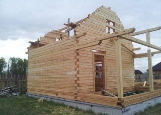 Фото процесса строительства бань с мансардой в Казани