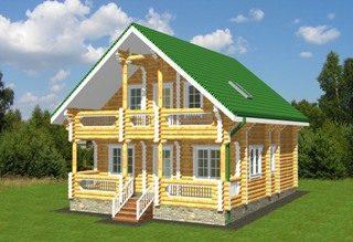 Проекты домов 8х9 из оцилиндрованного бревна в Казани